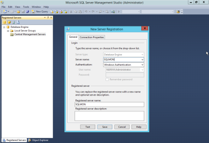 """Enter the connection information for the SQL Server 2008 or newer instance you want to use as your Central Management Server and click """"Save""""."""